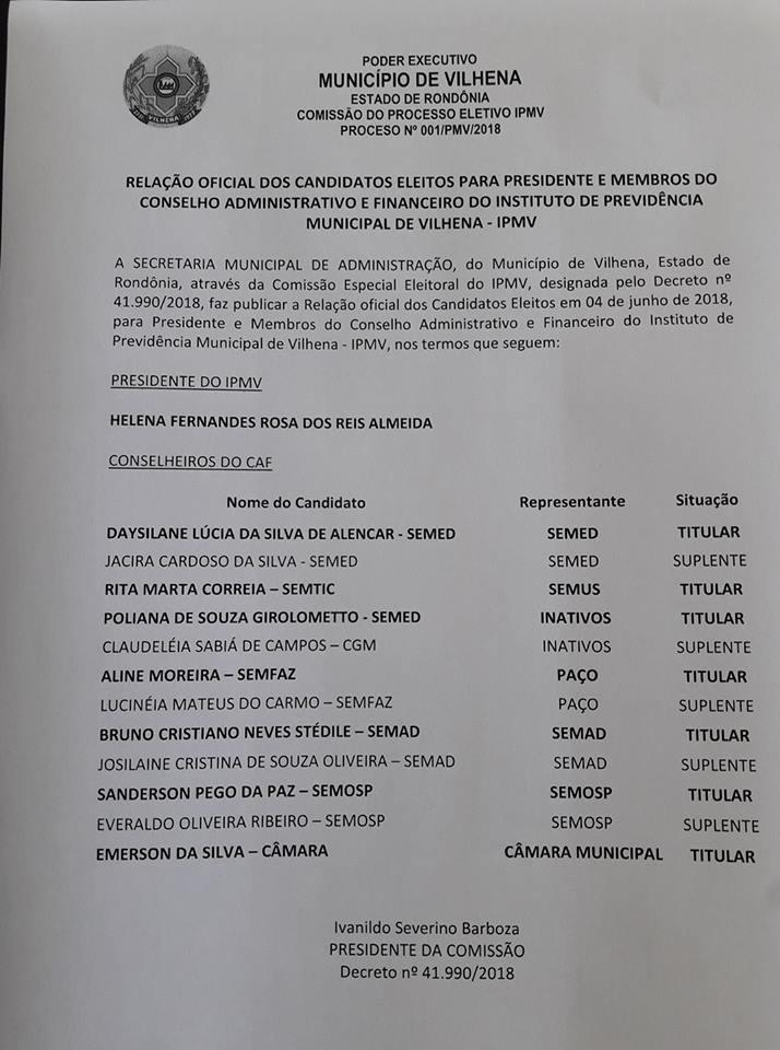 Resultado Oficial das Eleições no IPMV.