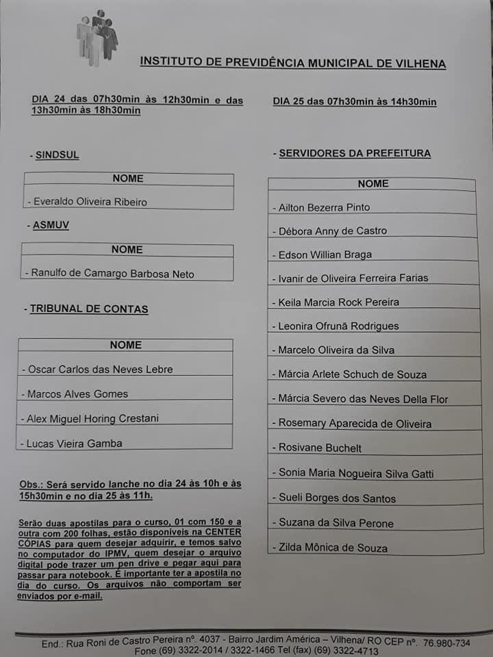 Lista de participantes do Curso CPA