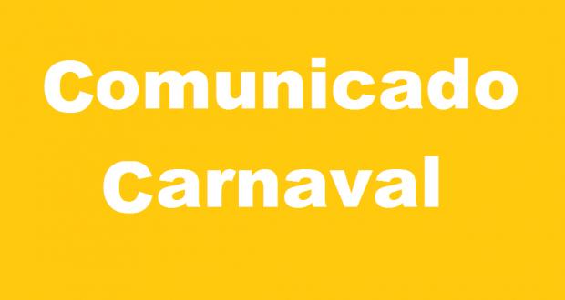 COMUNICADO –  FERIADO DE CARNAVAL/2019