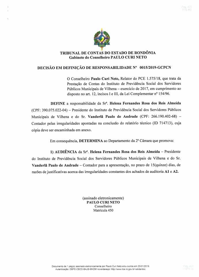 Mandato de audiência do Tribunal de Contas do Estado de Rondônia