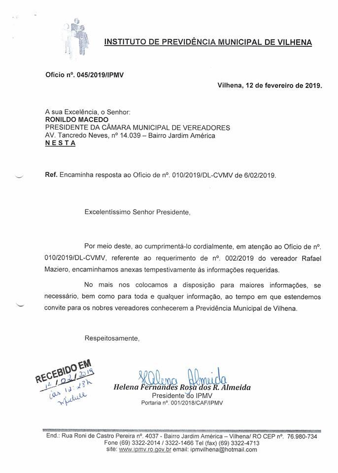 Resposta ao requerimento da Câmara Municipal de Vilhena.