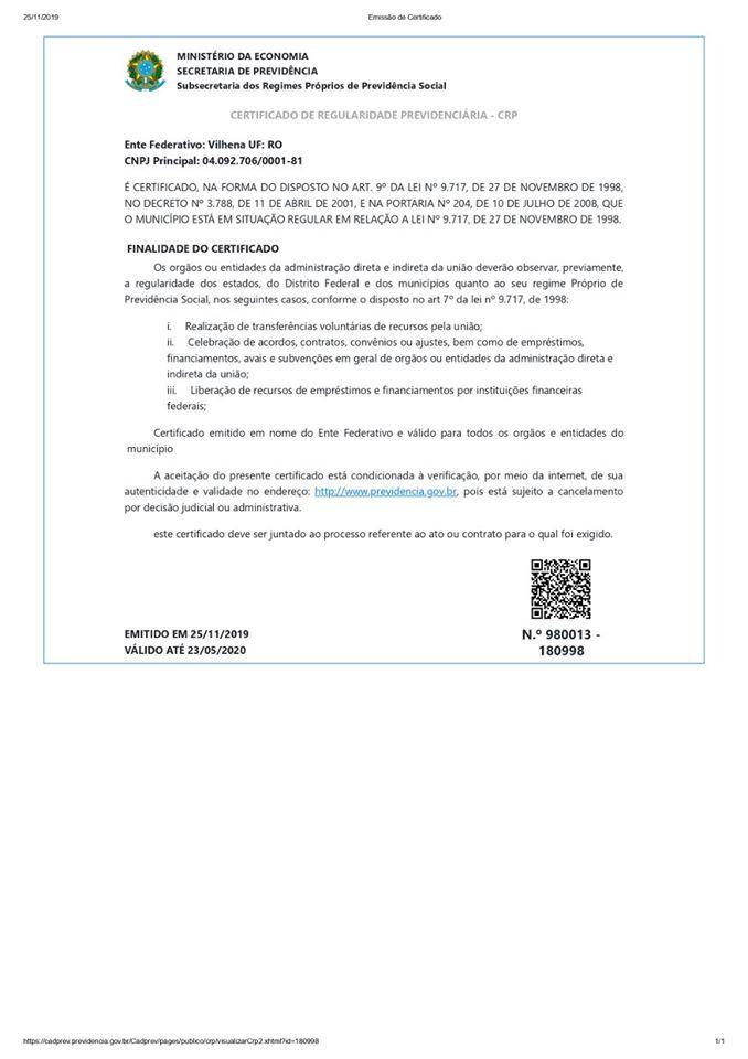 Certificado de Regularidade Previdenciária – CRP