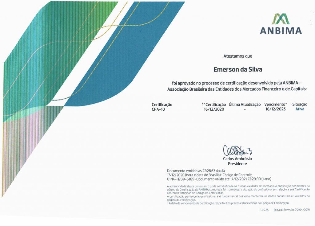 Conselheiro do CAF obtém Certificado CPA 10