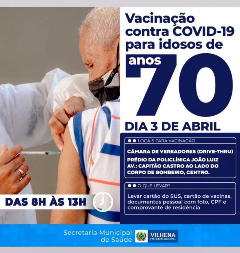 Vacinação contra o Covid-19 para idosos com 70 anos