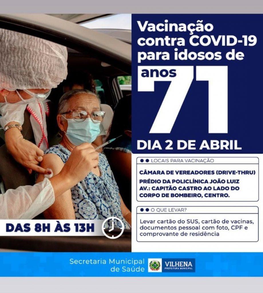 Vacinação contra o Covid-19 para idosos com 71 anos
