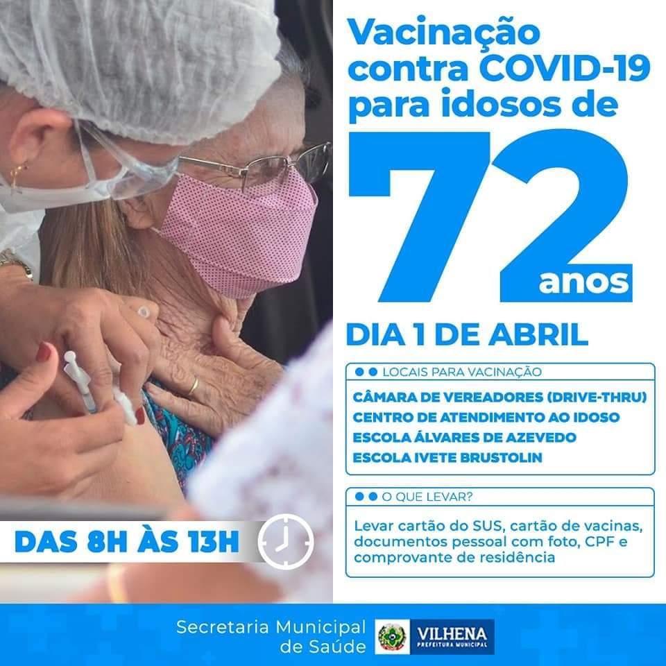 Vacinação contra o Covid-19 para idosos com 72 anos