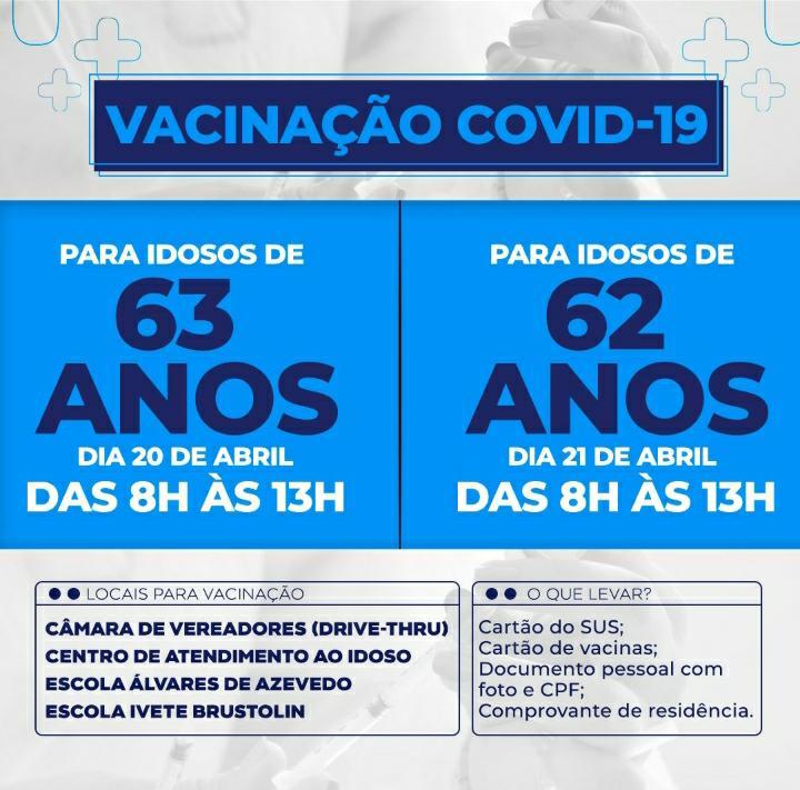 Vacinação contra o Covid-19 para idosos de 62 e 63 anos